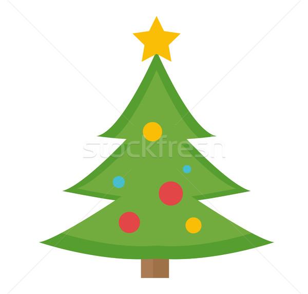 ストックフォト: クリスマスツリー · ベクトル · アイコン · 孤立した · 白 · 葉