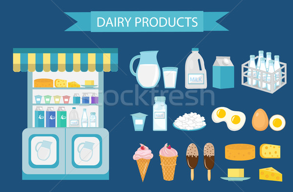 Milk products icon set, flat style.   isolated on white background.  and cheese showcase, store shel Stock photo © lucia_fox