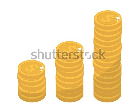 Coin stacks, flat design. Gold coins increase up, cent, isolated on white background. Evolution inco Stock photo © lucia_fox