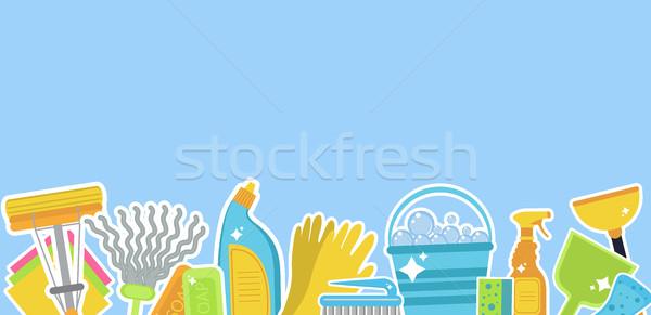 Ingesteld iconen schoonmaken tekst huis personeel Stockfoto © lucia_fox