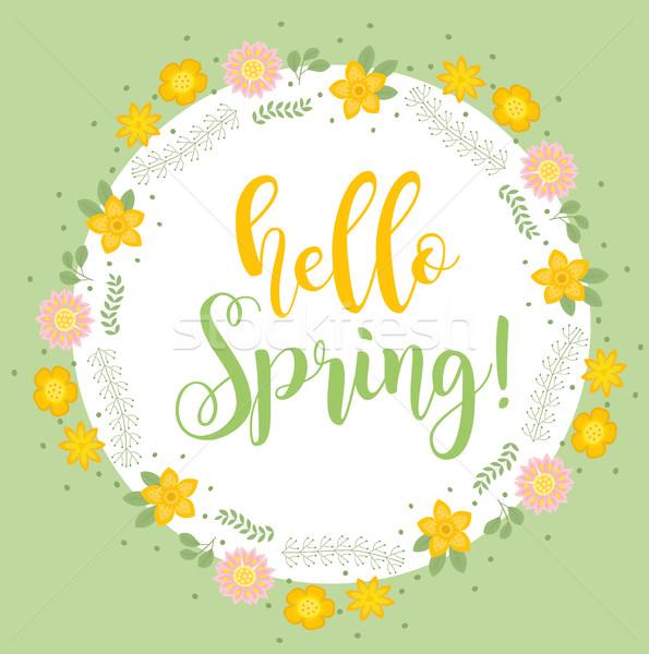 привет весны цветочный кадр текста изолированный Сток-фото © lucia_fox