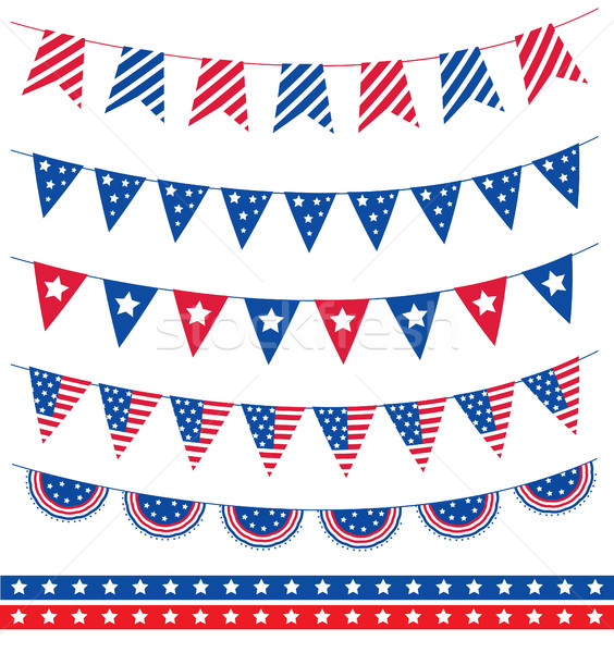 Set of different garland with flag ribbons. American Independence Day 4th of July. Vector illustrati Stock photo © lucia_fox