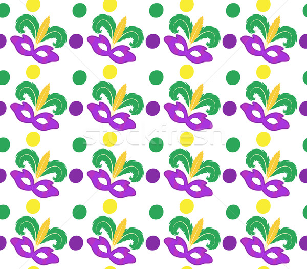 Mardi Gras Carnival seamless pattern with mask feathers.   endless background, texture, wallpaper. V Stock photo © lucia_fox