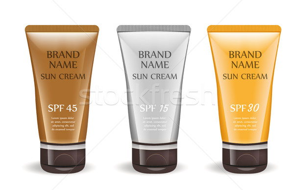Sunscreen cream realistic package set, isolated on white background. 3d tube, bottle mock-up for bra Stock photo © lucia_fox