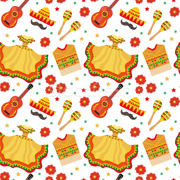 Stock photo: Cinco de Mayo seamless pattern. Mexican holiday endless background, texture. Vector illustration.