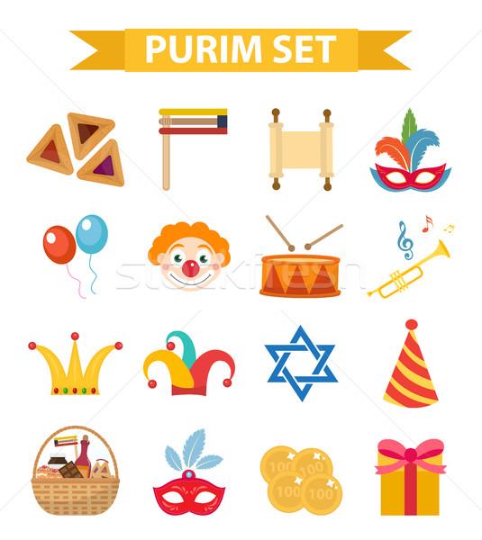 Happy Purim carnival set of design elements, icons.  Jewish holiday, isolated on white background. V Stock photo © lucia_fox
