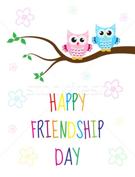 Cartão feliz amizade dia bonitinho desenho animado Foto stock © lucia_fox