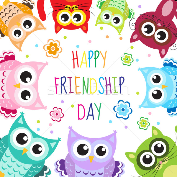 Greeting card with a happy friendship day. Greeting cute cartoon animals owls, cats. Vector illustra Stock photo © lucia_fox