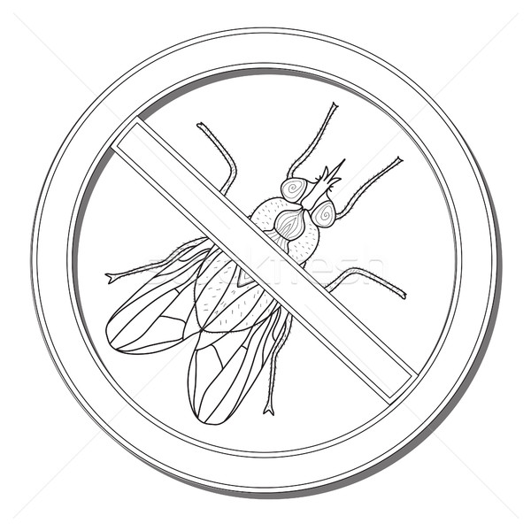 Sign ban fly. Stop sign of an insect. Vector illustration Stock photo © lucia_fox