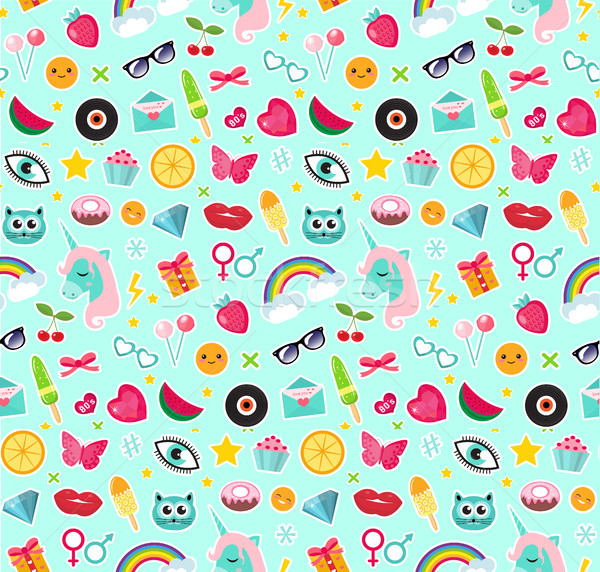 Fashion seamless pattern of patches 80s comic style. Pins, badges and stickers Collection cartoon po Stock photo © lucia_fox