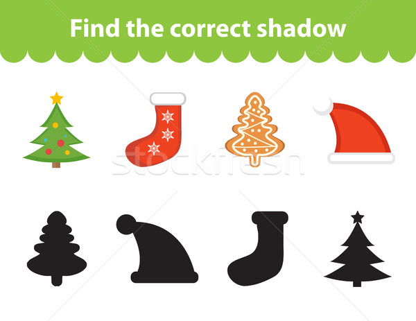 Children s educational game, find correct shadow silhouette. Vector illustration Stock photo © lucia_fox
