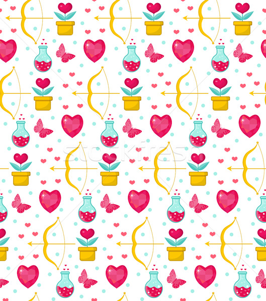 Cute seamless pattern Valentines Day with flowers, bow cupid, love potion, romance endless backgroun Stock photo © lucia_fox