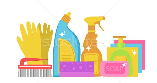 洗浄 ツール セット 家庭 化学品 ストックフォト © lucia_fox