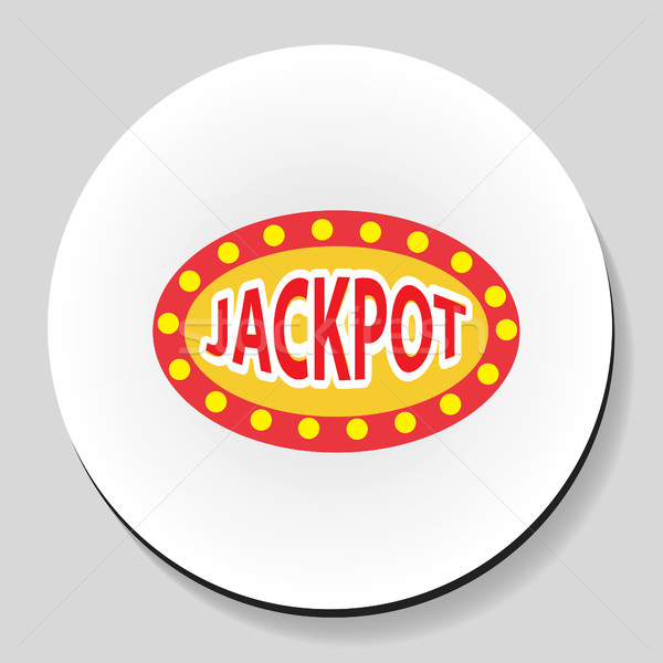 Jackpot winnings inscription sticker icon flat style. Vector illustration. Stock photo © lucia_fox