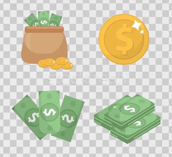 Money and coin set icons flat style, isolated on transparent background. Vector illustration. Stock photo © lucia_fox