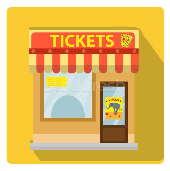 Kasjer budynku bilety cyrku ikona stylu Zdjęcia stock © lucia_fox