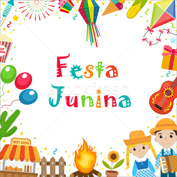 Festa Junina frame with space for text. Brazilian Latin American festival blank template for your de Stock photo © lucia_fox