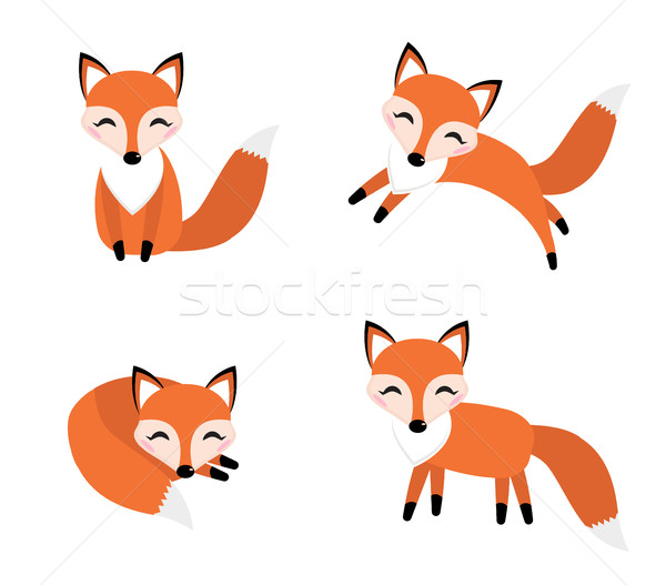 Bonitinho raposa conjunto estilo diferente adormecido Foto stock © lucia_fox