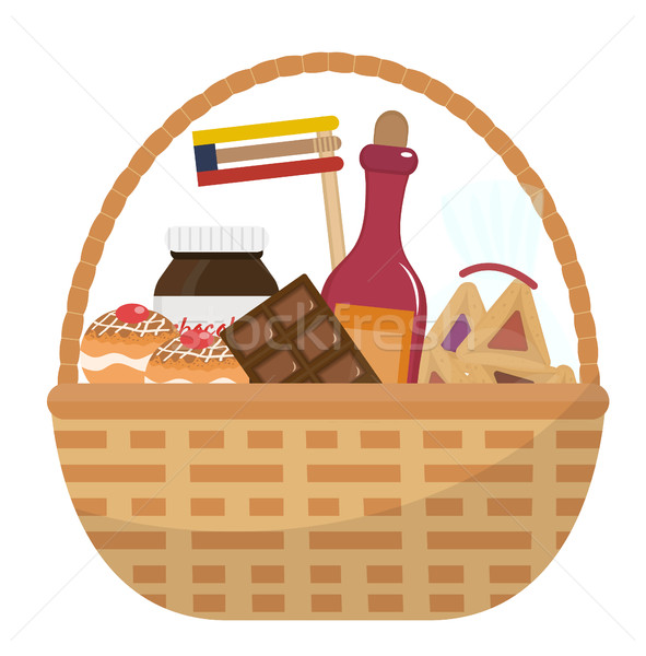 Mishloach manot basket with food treats. Purim holiday gift. Jewish carnival present. Vector illustr Stock photo © lucia_fox