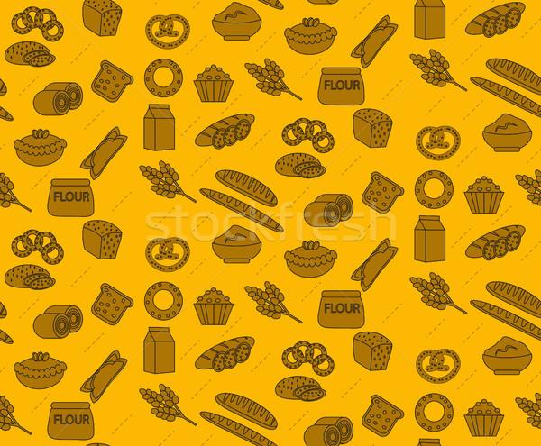 Pékség termékek végtelen minta kenyér cipó étel Stock fotó © lucia_fox