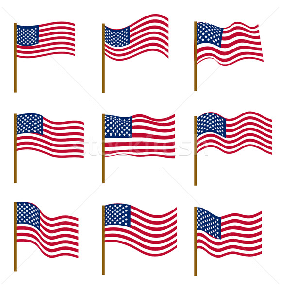 Set of flags of United States of America isolated on white background. Independence Day, July 4, con Stock photo © lucia_fox