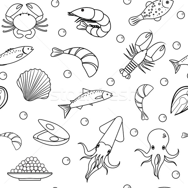 Sea life seamless pattern. Underwater endless background, texture. Hand drawing, sketch, line, doodl Stock photo © lucia_fox