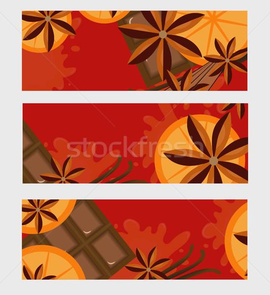 Сток-фото: красный · оранжевый · корицей · шоколадом · вино · пространстве