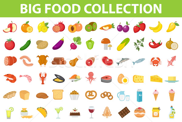 Stock photo: Big set icons food, flat style. Fruits, vegetables, meat, fish, bread, milk, sweets. Meal icon isola