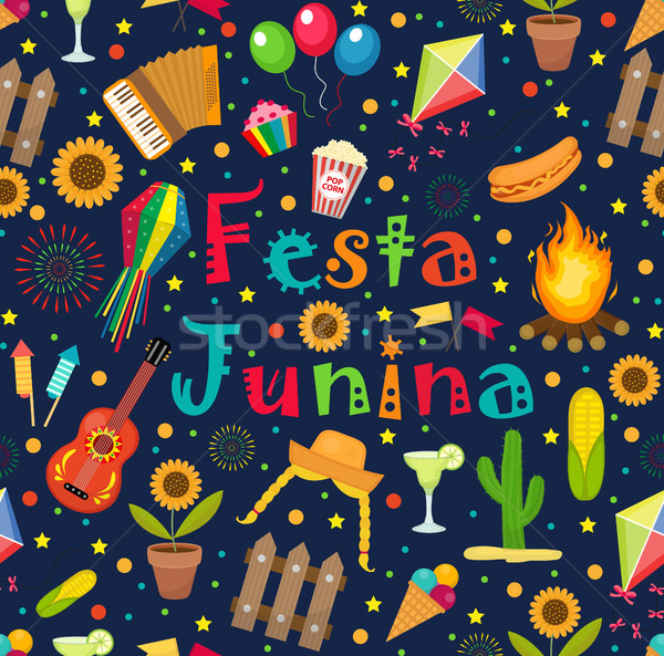 Festa Junina seamless pattern. Brazilian Latin American festival endless background. Repeating textu Stock photo © lucia_fox