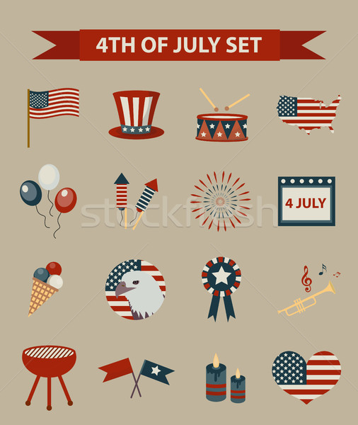 Vintage style set of patriotic icons Independence Day of America. July 4th collection of design elem Stock photo © lucia_fox