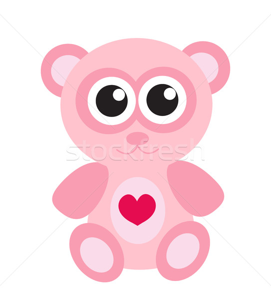 Cute pink teddy bear icon, flat design. Isolated on white background. Vector illustration, clip art. Stock photo © lucia_fox