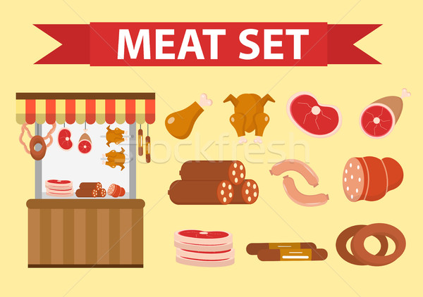 Meat and sausages icon set, flat style. Vector illustration Stock photo © lucia_fox