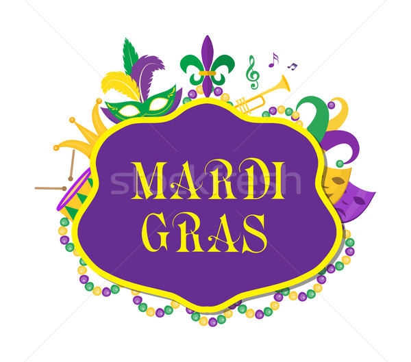Mardi Gras poster with mask, beads, trumpet, drum, fleur de lis, jester hat, masks, comedy and drama Stock photo © lucia_fox