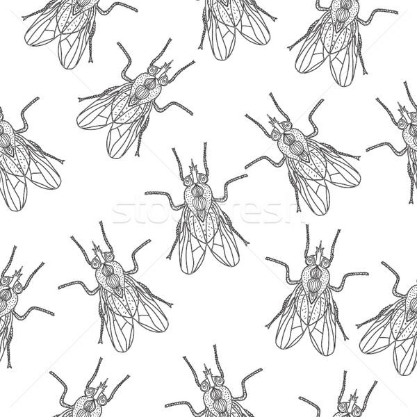 Vliegen insect naadloos textuur behang doodle Stockfoto © lucia_fox