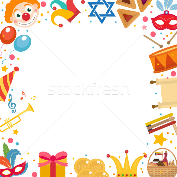 Purim frame template with space for text, isolated on white background. Vector illustration clip-art Stock photo © lucia_fox