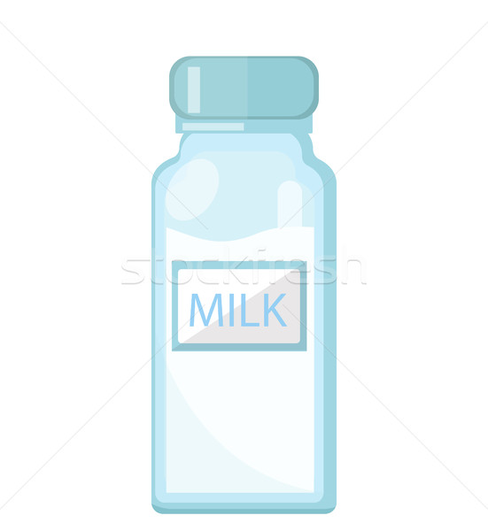 Milk in a glass bottle icon flat style. Isolated on white background. Vector illustration. Stock photo © lucia_fox