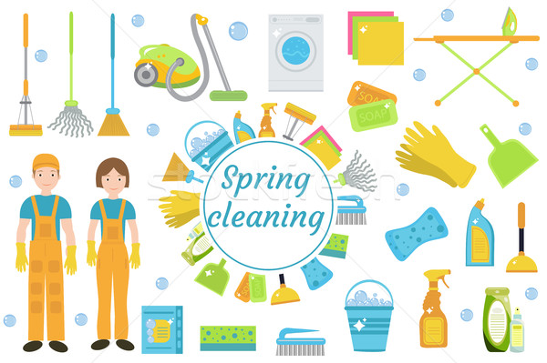 Spring Cleaning icons, flat style. Housekeeping frame with tools isolated on white background. Vecto Stock photo © lucia_fox