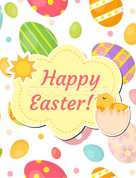 Happy Easter greeting card, flyer, poster with dyed eggs and chick. Spring cute template for your de Stock photo © lucia_fox