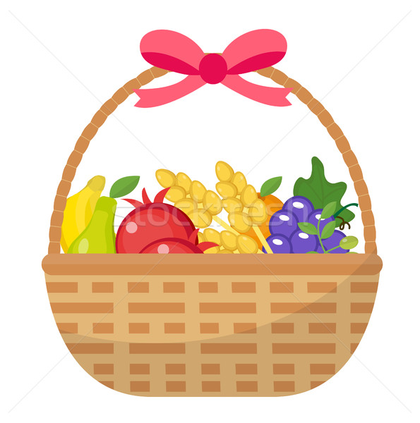 Fruit Basket icon, flat, cartoon style. Jewish holiday Shavuot, food concept. Pomegranate, grapes, w Stock photo © lucia_fox