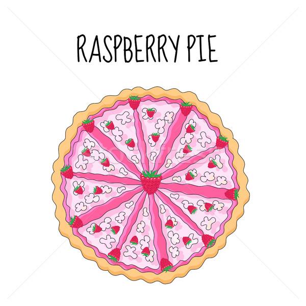 Raspberry cake, birthday cake. Baking with raspberries. vector illyustration Stock photo © lucia_fox