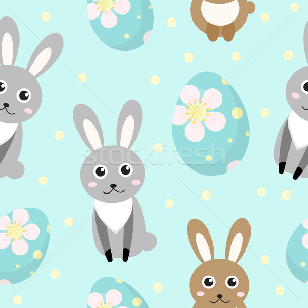 Cute Easter seamless pattern with rabbit and eggs, endless backdrop. Holiday background, texture, di Stock photo © lucia_fox