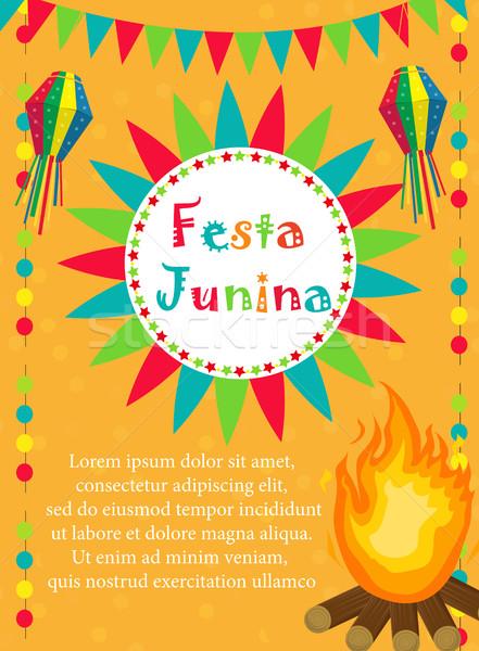 Tarjeta de felicitación invitación anunciante americano festival plantilla Foto stock © lucia_fox