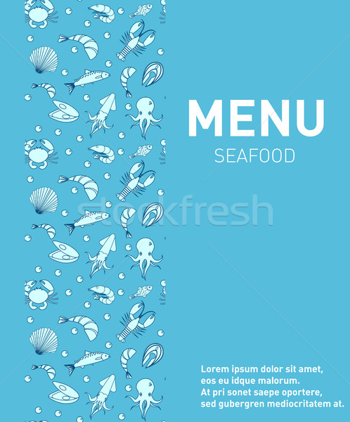 Sea food restaurant menu. Seafood template design, fish dishes. Vector illustration. Stock photo © lucia_fox
