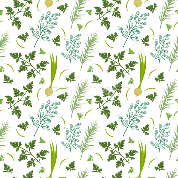 Herbs seamless pattern. Parsley, dill, razmarin endless background, texture. Vegetable backdrop. Vec Stock photo © lucia_fox
