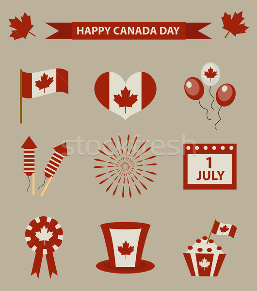Happy Canada Day icon set, design elements, vintage style. July 1 National Day of Canada holiday col Stock photo © lucia_fox