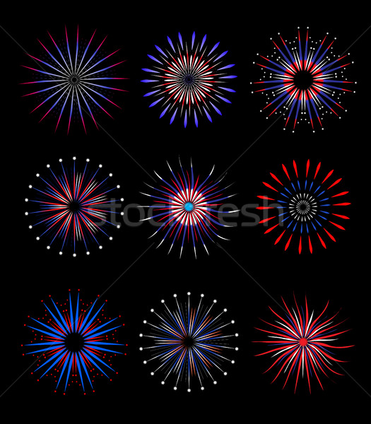 Fireworks, salute in traditional colors USA set of elements for your design. America's Independence  Stock photo © lucia_fox