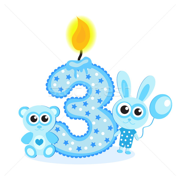 Stock photo: Happy Third Birthday Candle and Animals Isolated on white. The number three. Blue card for boy