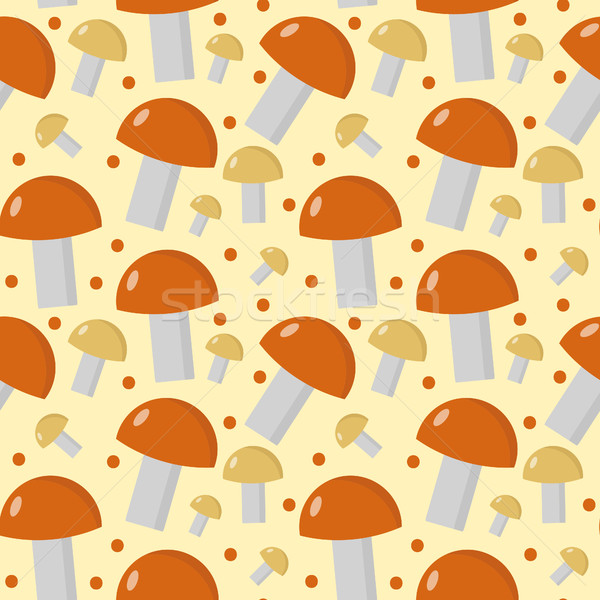 Mushrooms seamless pattern. Boletus edulis endless background, texture. Vegetable . Vector illustrat Stock photo © lucia_fox