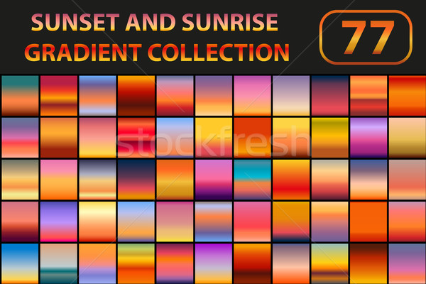 Sunset and sunrise gradient set. Big collection abstract backgrounds with sky. Vector illustration. Stock photo © lucia_fox