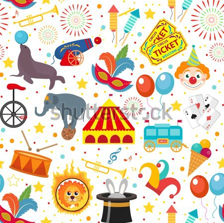 Stock photo: Circus Collection, flat, cartoon style. Set isolated on a white background. Kit with elephant, tent,